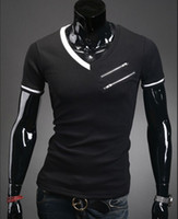 Men Cotton V_Neck black shirt men fashion 2013 v neck korean men polo shirt slim fit designer men shirt short sleeve T shirt shirts size M-XXL
