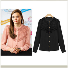 Wholesale 2013 summer new European style shirt simple and elegant casual fashion long sleeve lace bottom shirt women s OL formal shirts s1323 chiffon