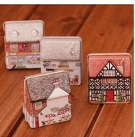 Bamboo colored full housing - Min order is mix order cute candy box mini full colored drawing small house storage tin