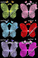 Wholesale Butterfly wing set wing headband fairy wand Angel wing Party accessories colours sets