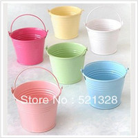 Wholesale Tin Favor Pails offer matching Yarn Bag as free gift wedding candy box DIY creative Continental Colorful small drum