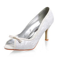 Bow High Heel Peep Toe Elegant High Quality Peep Toe 8 cm High Heel Satin Up Rhinestne Lace Cheap White Ivory Black Wedding Party Bridal Shoes Free Shipping