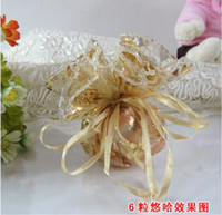 Wholesale Wedding Favors Candy Box Sweet Bag Gift Gold Tooling Tulle Unique Design We
