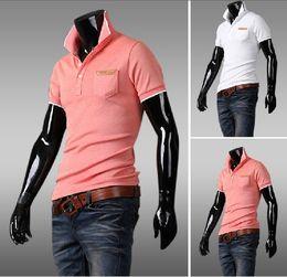 Wholesale 2013 new arrive Men s T shirts short sleeve mens t shirt polo shirts pink white M L XL XXL