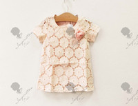 Wholesale girl clothing kids dress Korean Boutique Sunflower lace baby dresses size cm pink year