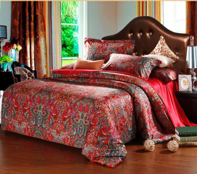 Egyptian Cotton King Queen Size Bedding Comforter Set Red ...