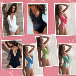 Wholesale Women s Strappy Fringe Deep V Neck One Piece Monokini sexy Swimsuit Swimwear