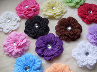 Wholesale 10Pcs Girl Baby Daisy Hair Flower Clips Bow Headbands with crystal center Hair accessories