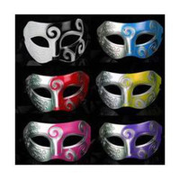 Wholesale Stunning Silver and black Venetian half mask Silver and Black Masquerade Masks for Men