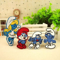 Wholesale Wholesales Cartoon Smurfs Embroidered Iron On Applique Patch Kids Patch
