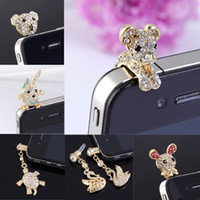 Wholesale Charms For Iphone Mixed Style Rhinestone Crystal mm Anti Dust Earphone Jack Plug Stopper