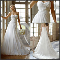 Wholesale 2013 Elegant Beach Wedding Dresses A line Sweetheart Appliqued Beading Long Chiffon Ruffles Bridal Attire Gowns Online Stores