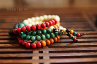 Wholesale Fashion Natural Sandalwood Buddha Root colorful long pause prayer beads bracelet Jewelry DH5932