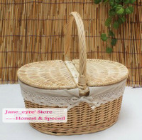 Basket basket handle - Wicker Willow Picnic Basket With Handle Cleaning Basket Storage Basket Finishing basket