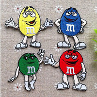 Wholesale Wholesales Mixed Color Cartoon M amp M Embroidered Iron On Applique Patch Kids Patch