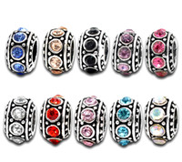 Wholesale Charms Silver Tone Mixed Rhinestone Crystal Big Hole European Spacer Beads Fit Bracelets mm