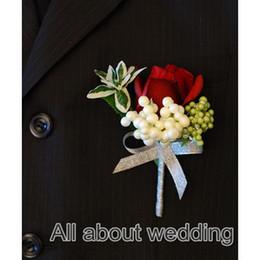 Wholesale 2016 New Wedding Flower Fabric Burgundy Rose Groomsman Bestman Wedding Pocket Corsage Wedding Flower Bestman Boutonniere