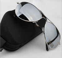 Wholesale New Aviator Explosion Models Male Sunglasses Reflective Sunglasses with box Cleaning Cloth