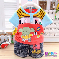 Wholesale Elephant Infants Baby Clothes sets T Shirt Pants Cotton Material Elephant Cartoon Children Clothings suit Color set