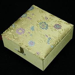 Silk Brocade Jewellery Gift Boxes Square Cotton Filled Keepsake Box High End Bangle Bracelets Box 2pcs lot Mix Color Free