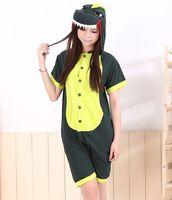 Wholesale New sexy Unisex Kigurumi Animal Short sleeve pajamas Cosplay Costumes Onesie Pyjamas Green dinosaur S M L XL