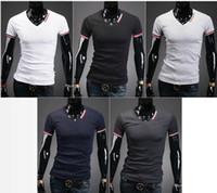 Wholesale 2013 new Men s T shirts v neck short sleeve mens t shirt colours M L XL XXL