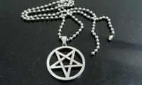 Pendant Necklaces European Men's Stainless Steel Silver pentagram satanic symbol Satan worship Pendant Necklace 30mm with 24'' ball chain