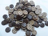 al por mayor botones de concha de coco naturales-300 x 11 mm 4 agujeros de aguja los ojos de la ronda natural de cáscara de Coco Botones,BRICOLAJE muñeca de coser/scrapbook/Cardmaking mucho