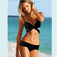 Wholesale TOP sale Sexy Girls Swimwear New Push Up Bandeau Top Ruched Low rise Bottom Bikini Set Bathing Suit Swimwear S M L BGN A