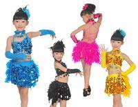 Wholesale sexy girl children kids Cocktail Club Wear Party Latin Dance Race Asymmetric Sequin Fringe latin dance glitter clothes