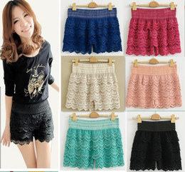 Wholesale Hot Womens Korean Sweet Cute Crochet Tiered Lace Shorts Skorts Pants S M L XL