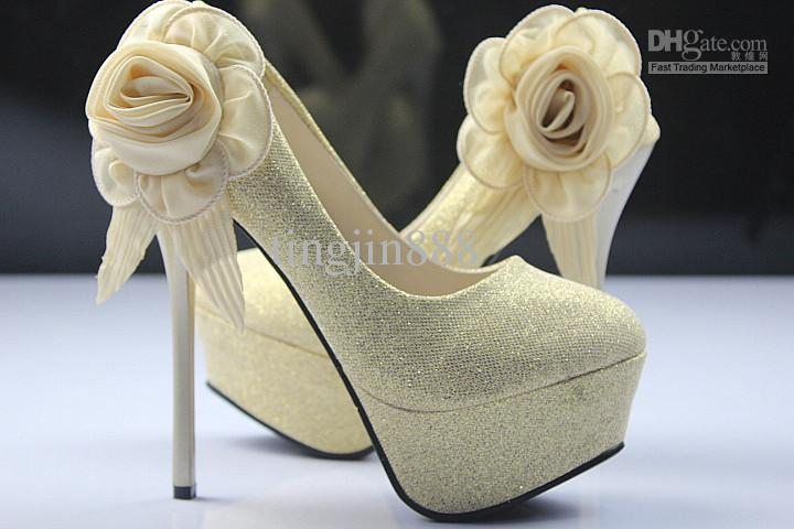 NEW Bridal Party Platform High Heels Gold Lace Flowers Bridesmaids