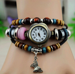 Wholesale 5pcs NEW Beaded hollow out the butterfly handmade Retro Roman Punk Leather watches fashion Ms Watches Lady Wrist watches childen watch
