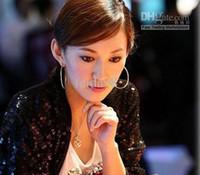 Wholesale Diamond l earrings exaggerated personality hoop earrings Korean earrings
