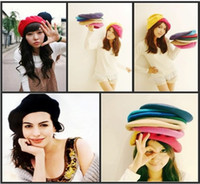 Wholesale 9 colors Fashion Wool Warm Women Felt French Beret Beanie Hat Cap Tam