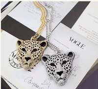 Wholesale Fashion Punk Leopard Head Chain Necklace
