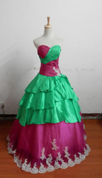 Wholesale In Stock Day Dispatch Sweetheart jade and fuchsia taffeta Prom Dresses Occasion Dresses with silver lace applique and beads Size US2
