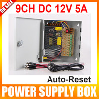Wholesale 9 Channel V DC A Regulated Power Supply BOX AUTO RESET for CCTV System Pigtail COA