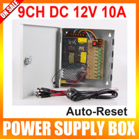 100~120V AC, 200~240V AC (Preset 230V) auto cctv - 9 Channel V DC A Regulated Power Supply BOX AUTO RESET for CCTV System Pigtail COA