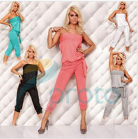 Polyester +spandex jumpsuits Cotton Factory Wholesale Price Freeshipping 2013 New Fashion Women Sexy Strapless Casual One-piece Jumpsuits and Rompers with Belts 4005