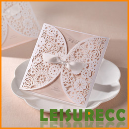 Wholesale White Wedding Invitations Hollow Foil Stamping Uneven FeDEX DHL Ribbon Wedding Gift Lace Free Printable Cards Wedding Favors HQ0001