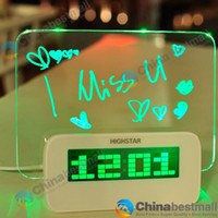 Wholesale Highstar Romantic Fluorescent Message Board Blue Green LED Digital Luminous Alarm Clock Calendar With Without Ports USB Hubs