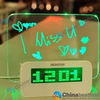 Wholesale Highstar Romantic Fluorescent Message Board Blue Green LED Digital Luminous Alarm Clock Calendar With Without Ports USB Hubs