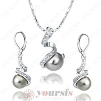 Middle Eastern amazing gps - Amazing Price K White Gold Gemstone Jewelry Use Swarovski Crystal K GP Gray Pearl Pendant Necklace Earring Sets S003W2