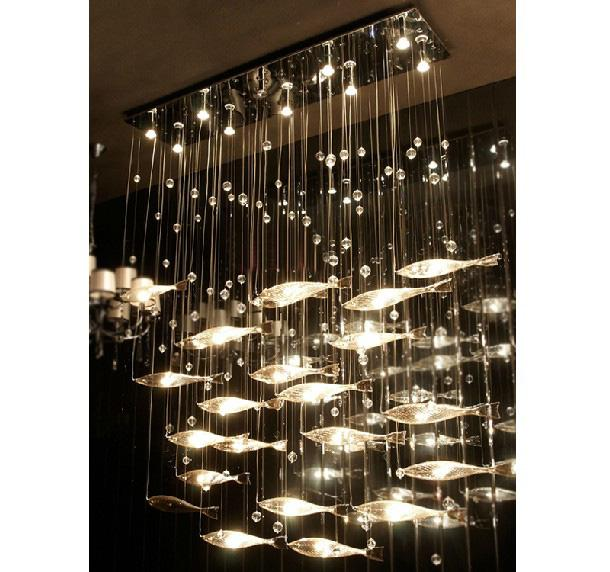 Discount modern fashion glass fish swarm ceiling light for Inexpensive chandeliers for dining room