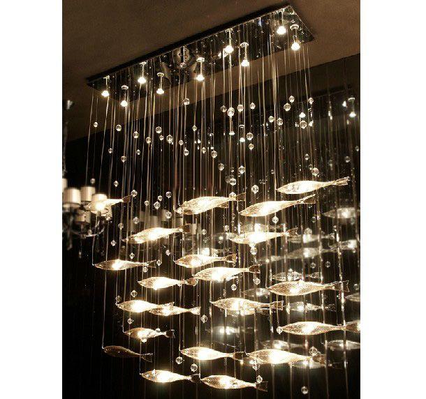 Modern Fashion Glass Fish Swarm Ceiling Light Chandelier Dining ...