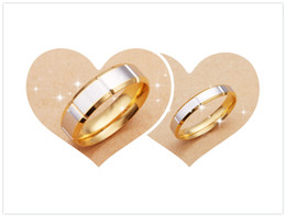 Wholesale New listing gold plating fashion titanium steel couple rings retro glossy high quality specifications romantic Valentine s Day gift jewelry