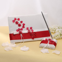 Wholesale Wedding Favors Wedding Party unique wine red flower design white Wedding Guest Books amp Pen Sets