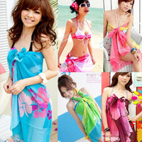 Wholesale 20 colors Lady s Beach towel scarf Soft Silk muffler Sexy Pareo Dress Sarong Bikini Cover Up Bandelet Neckerchief Tippet Shawl Wraps scarves