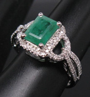 South American emerald cut diamonds - Emerald Cut CT SOLID K WHITE GOLD NATURAL COLOMBIA EMERALD Diamond Wedding Engagement RING G090386 jewelry